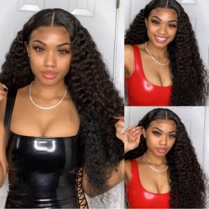SokuccaDeep Wave Natural Hairline 13X6 Transparent Frontal Lace Human Hair Wig
