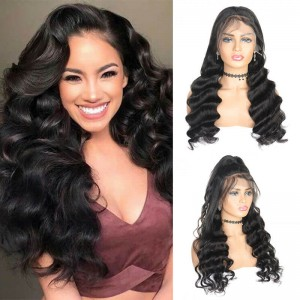 SokuccaBest 13X6Transparent Frontal LaceWig LooseWave Human Hair Can Be Dyed