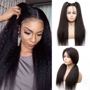 Sokucca100% Human Hair Kinky Straight13X6 TransparentFrontal Lace Wig