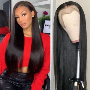 SokuccaWet And Wavy Frontal 13X6 Lace Wig With Baby HairStraight Virgin Hair