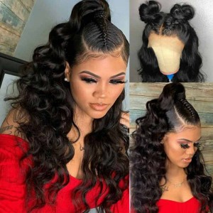 SokuccaLooseWave Natural Hairline Human Hair Full Lace Wig 150% Density