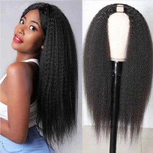 Sokucca Kinky Straight U-Part Wig Natural Color 150% Density Fashion Style
