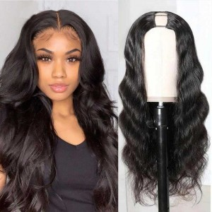 Sokucca U-Part Wig Human Hair Body Wave Hair 180% Density Natrual Color With Straps Combs