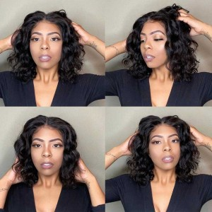 Sokucca Body Wave Human Hair Wig 13x6 Lace Frontal Short Bob Wig For Sell 180% Density