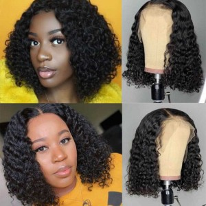 Sokucca Short Deep Wave Bob Wig Pre-Plucked 13x4 Lace Frontal Wig For Black Women