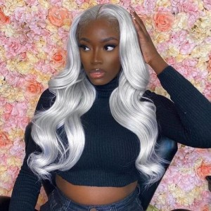 Sokucca 13X4 Human Hair Body Wave Transparent Frontal Lace Wig Grey Color Bleached Knots
