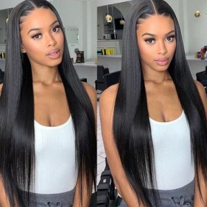 Sokucca Straight T-Part Lace Part Wig With Natural Hairline 1b Color