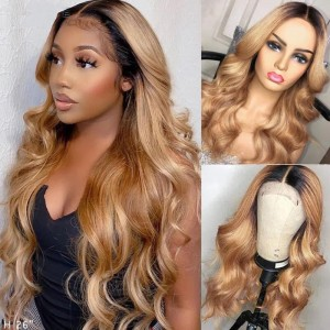 Sokucca 13X4 Body Wave Transparent Frontal Lace Wig 100% Human Hair 1B/27 Color