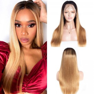 Sokucca Straight Pre-Plucked 13X4 Transparent Frontal Lace Wig Virgin Hair 1B/27 Color