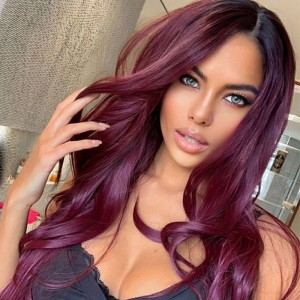 Sokucca 1B/99J Color Remy Hair 13X4 Transparent Frontal Lace Wig Body Wave Hair