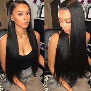 Sokucca Peruvian 4 Bundles Straight Hair With Transparent Frontal Remy Hair Natural Color