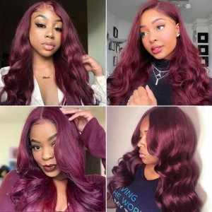 Sokucca 99J Body Wave Human Hair Wig 13X4 Transparent Frontal Lace Wig With Baby Hair
