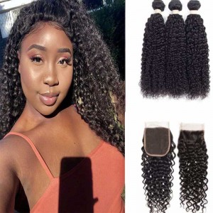 Sokucca High-Quality 4X4 Transparent Closure With 3 Bundles Deep Curly Peruvian Remy Hair