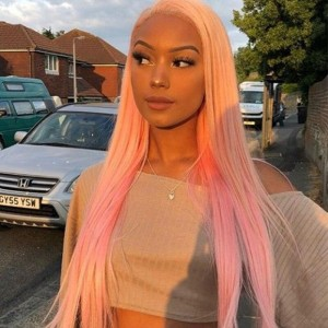 Sokucca Pink Color Transparent Frontal Lace Wig 13X4 Straight Human Hair 150% Density