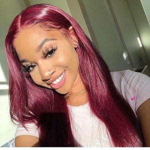 Sokucca 99J Color Straight Hair 13X4 Transparent Frontal Lace Wig For Sale 180% Density