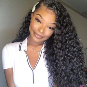 Sokucca Ear To Ear Deep Wave Transparent Lace Frontal With Peruvian 3 Bundles