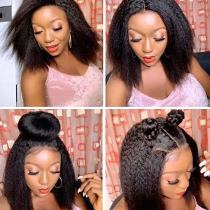 Sokucca Lace Frontal With 4 Bundles Hair Peruvian Kinky Straight Natural Color
