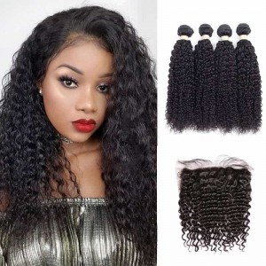 Sokucca Malaysian Deep Curly 4 Bundles Hair With Ear To Ear Transparent Lace Frontal