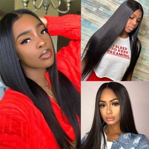 Sokucca 3 Bundles With Transparent Lace Closure Straight Indian Human Hair Weaving