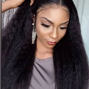 Sokucca Pre-plucked Transparent Lace Frontal With 3 Bundles Malaysian Kinky Straight Hair