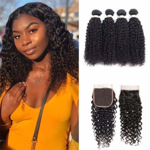 Sokucca Indian Deep Curly Hair 4 Bundles With 4X4 Transparent Lace Closure For Women