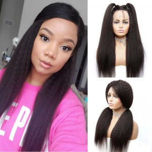 Sokucca Yaki Straight 13X6 Transparent Lace Frontal Wig Natural Black Color For Black Women
