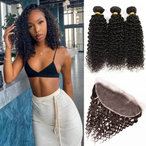 Sokucca Indian Kinky Curly 13X4 Transparent Lace Frontal With 3 Bundles Human Hair