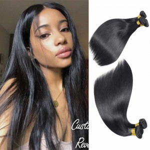 Sokucca Best Peruvian Straight 3 Bundles Remy Hair Natural Color For Women