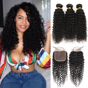 Sokucca Malaysian Kinky Curly Hair 3 Bundles With Transparent Lace Closure On Sale