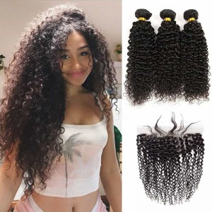 Sokucca Vendor Malaysian Hair New Kinky Curly 3 Bundles With 13X4 Lace Frontal
