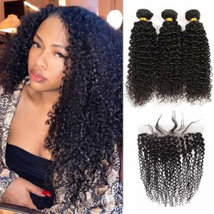 Sokucca Kinky Curly Human Hair 3 Bundles With Peruvian 13X4 Lace Frontal