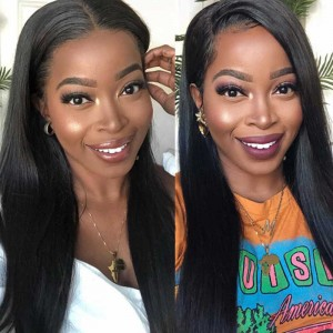 Sokucca U-Part Wig Straight Human Hair 180% Density With Straps Combs