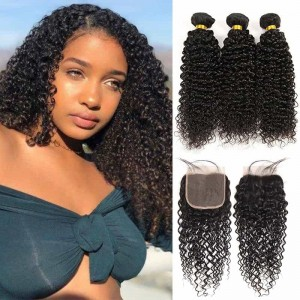 Sokucca New Arrived 3 Bundles Brazilian Kinky Curly With Lace Closure For Sale