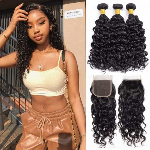 Sokucca 3 Bundles Water Wave Hair With Brazilian 4x4 Lace Closure