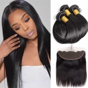 Sokucca Peruvian Straight Lace Frontal With Human Hair3 Bundles