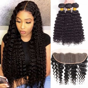 Sokucca 10-20 inch Lace Frontal With 3 Bundles Deep Wave Human Hair Deals