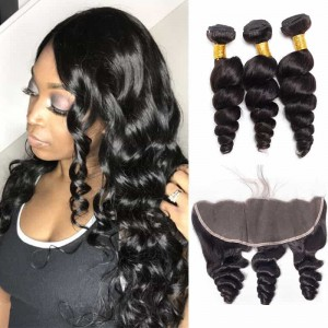 Sokucca Indian Hot Selling Unprocessed Loose Wave 3 Bundles With Lace Frontal