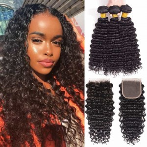 Sokucca Affordable Deep Wave Brazilian Hair 3 Bundles With 4x4 Lace Closure