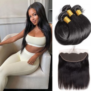 Sokucca Straight 3 Bundles 8-30 Inches With Transparent Lace Frontal Human Hair Weave