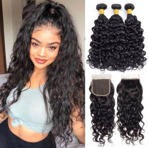 Sokucca Water Wave 3 Bundles Malaysian Crochet Hair Weave With Transparent Frontal