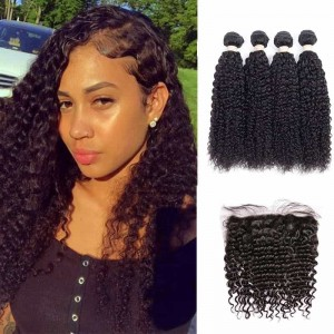 Sokucca Brazilian Deep Curly Hair 4 Bundles With 13x4 Lace Frontal