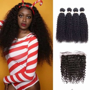 Sokucca Peruvian Deep Curly Hair 13X4 Lace Frontal With 4 Bundles