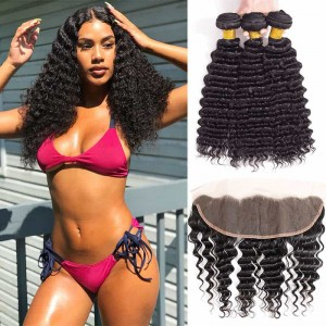 Sokucca Brazilian Pre-plucked Deep Wave Frontal With 3 Bundles Natural Color