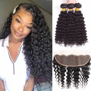Sokucca Malaysian Hair Lace Frontal 13X4 With 3 Bundles Deep Wave Hot Selling