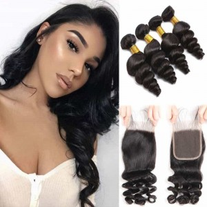 Sokucca Peruvian High Grade Loose Wave Lace Closure With 4 Bundles best price