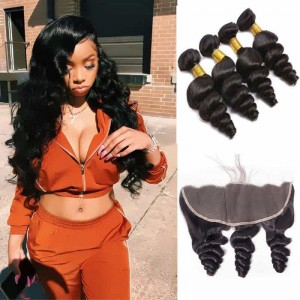 Sokucca Brazilian Loose Wave Free Part 13x4 Lace Frontal With 4 Bundles