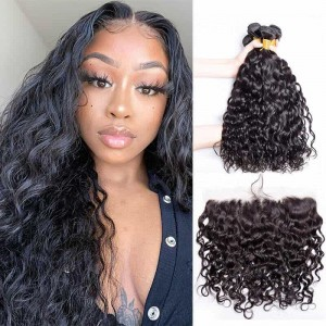 Sokucca Peruvian Ear to Ear Lace Frontal With Human Hair Water Wave 4 Bundles