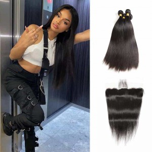 Sokucca Brazilian Hair Straight Virgin Hair 4 Bundles With Lace Frontal 1B Color