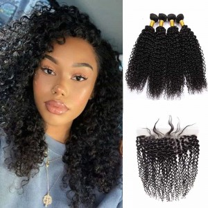 Sokucca Kinky Curly Brazilian Remy Hair 4 Bundles With 13X4 Lace Frontal