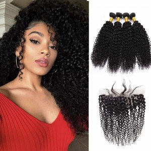 Sokucca Peruvian New Arrived Kinky Curly Hair 4 Bundles With Lace Frontal